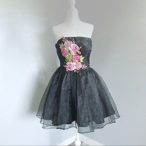 Betsey Johnson Pink Roses and Black Tulle Dress